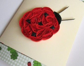 Ladybug Card, Quilled Ladybug, Blank Children Birthday Card, Birthday Gift for Girl, Spring Card, Mother's day card