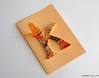 Personalized K Initial Letter Card, letter art, card for him, custom birthday card, K letter card, Monogram card, Blank Birthday Card