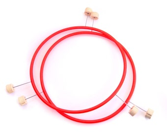 Pair of Polypro Removable Spine Fire Mini Hula Hoops - 3 wicks
