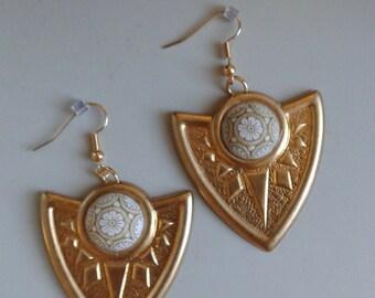 Brass vintage shield earring