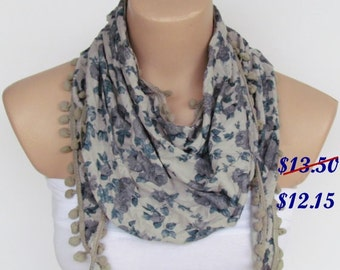ON SALE - Gray Floral Pompon Scarf -Winter Fashion Scarf-Shawl Scarf-Headband-Necklace- Infinity Scarf- Winter Accessory-Long Scarf