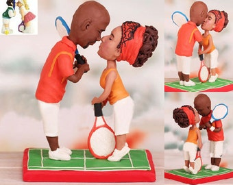 Tennis theme topper - Personalised wedding cake topper  (Free shipping)