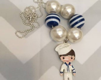 Navy Pendant Necklace