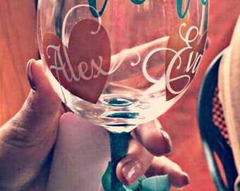 Glitter stemmed wine glass