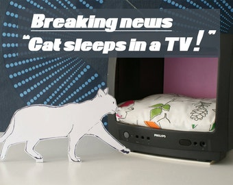 Retronize your home with this upcycled tv cat bed | tv pet bed, cat bed, cat house, cat furniture, pet furniture, katzenmöbel