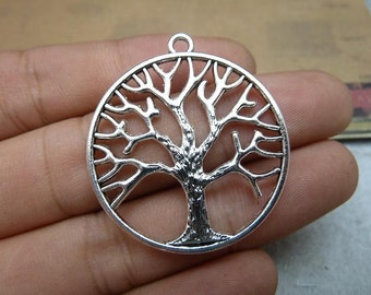 10 Antique Silver 33mm Life Tree Pendants AC8058