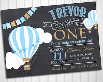 Hot Air Balloon Birthday Party Invitation -Blue and Glitter Hot Air Balloon Invite 5x7 or 4x6 - Balloon Birthday Invitation