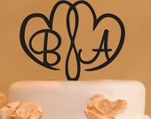 Double Heart Monogram Wedding Cake Topper - Two Hearts wedding cake monogram topper - hearts cake topper - two hearts topper-  monogram