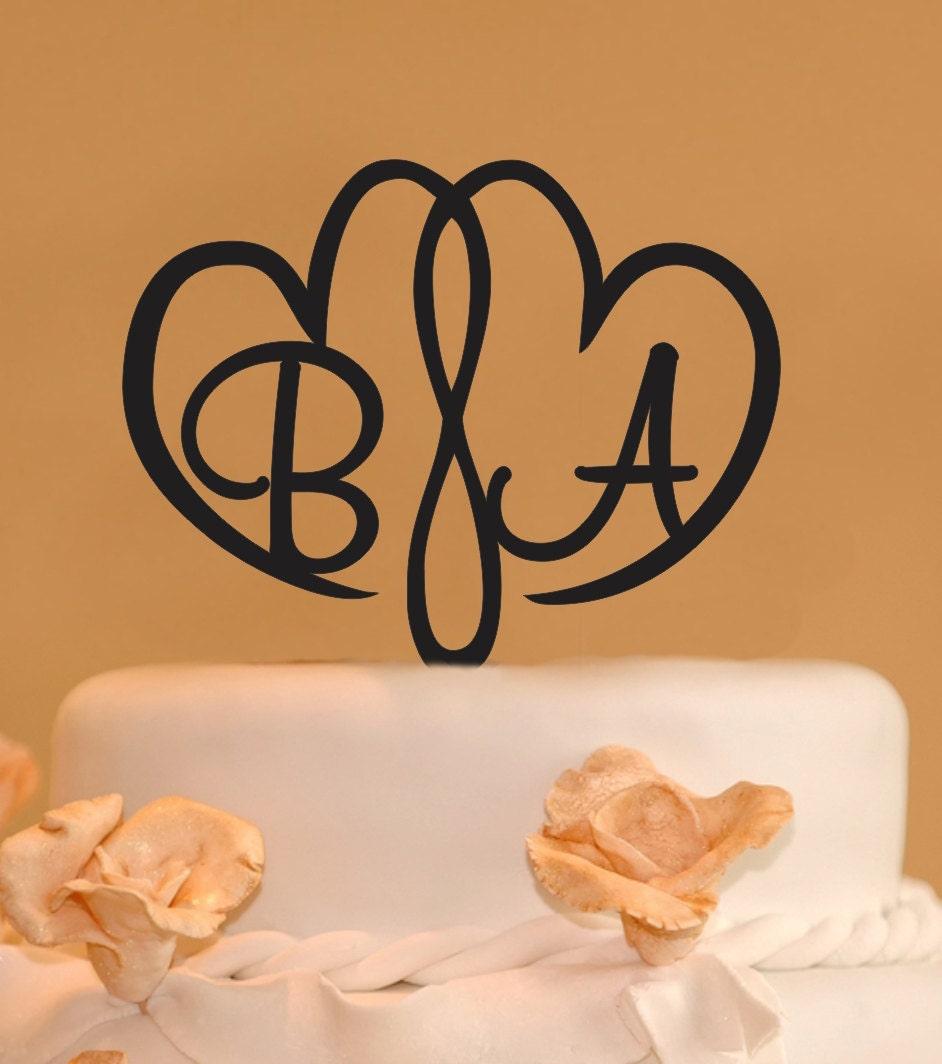 Double Heart Monogram Wedding Cake Topper Two Hearts wedding