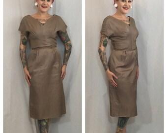 Vintage 1950's Brown Satin Hourglass Dress
