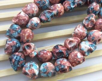 30  pcs  Gemstone Howlite  Skull Bead  for  Jewelry   Making  Gothic Skull Sugar Skull Halloween day of  the dead (c426)