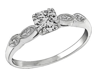 Vintage GIA Certified 0.50ct Diamond Engagement Ring