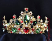PRETTY Queen crown, queen tiara, queen party, red crystals crown,byzantine, dolce crown, green, gold red, custom made tiara, baroque crown