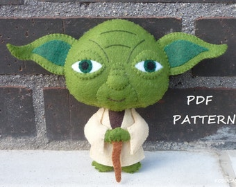 PDF pattern to make a felt doll inspired in Yoda.