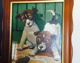 Vintage Paint By Number Painting of Two Puppies and a Frog