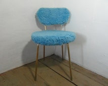Blue fluffy chair, moumoute chair, boudoir chair, French vintage, 70s home decor, blue chair, mid century chair, boho decor, blue home decor
