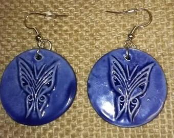 Earrings, ceramic butterfly