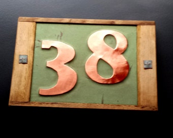 "Art Deco Copper plaque with oak frame, 2 x nos  3"" or 4"" high numbers custom made in UK, shipped worldwide"