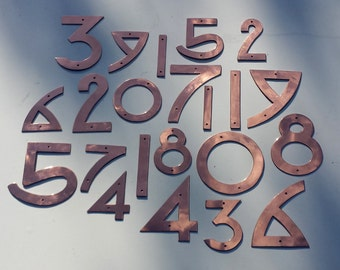 "Copper numbers in Arts and Crafts style, polished or hammered copper, 3""/75mm or 4""/100mm high  Dard Hunter font"