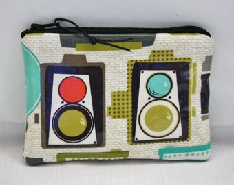 Small Zipper Pouch for Digital Camera or Change Purse in Vintage Camera Print Laminated Cotton with Contrast Cotton Lining