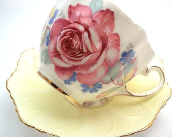 Rare Yellow Paragon Tea cup And Saucer, Yellow Embossed Teacup Set with large Pink Rose