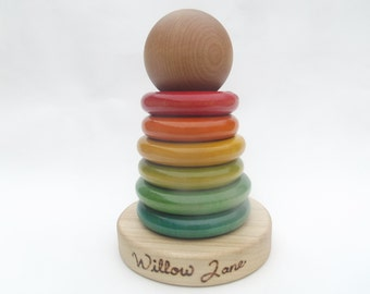 Personalized Baby Wooden Rainbow Stacking Toy With Ball Organic Baby Gift
