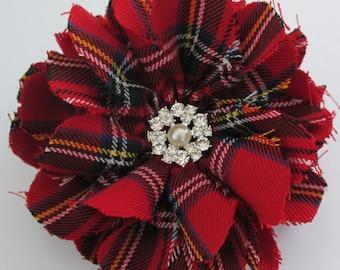 Scottish Tartan Brooch, Plaid, Scottish, Royal Stewart, Red Tartan Corsage, Royal Stewart Brooch, Wedding Corsage, Ceilidhs, Burns Supper