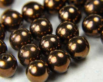Czech pressed glass 8mm round druk beads dark bronze 25 beads