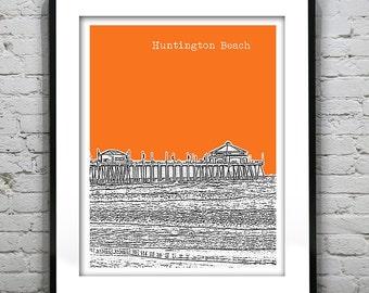 Huntington Beach Poster Skyline Art Print California CA Version 2