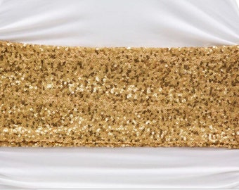12 - Sequin Chair Bands - Gold