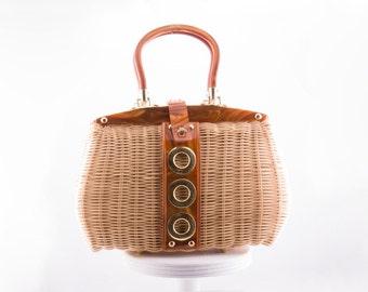 Vintage 1950s Tortoise Lucite  Basket Handbag  • Revival Vintage Boutique