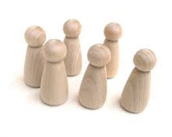 Wooden Peg People,  natural peg toy, Peg Doll, Standard Peg Doll, plain wood peg, wood peg blank