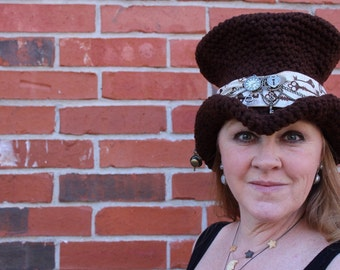 Extra Tall Crochet Steampunk Chocolate Top Hat