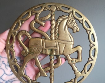 Cast Brass Carousel Horse Kitchen Trivet or Wall hanging