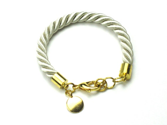 Twisted Rope Bracelet in Champagne Beige with Gold Disc Charm, Teacher Gift