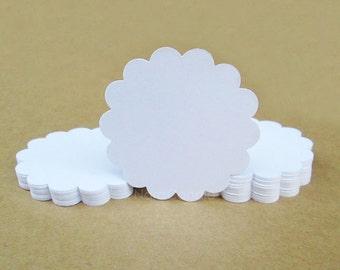 White Scallop Circle Tag, Gift Tag, White Tag Set of 100