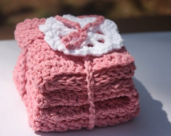 Pink Baby Washcloths - Crocheted Pink Washcloths - Baby Girl Washcloths - Baby Crochet Washcloths - Baby Girl Pink Washcloths