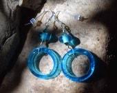 Earrings made with aqua Kitengela glass beads (hand-made in Kenya)