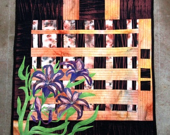 Hand painted fabric art quilt, wallhanging  -Convergence lilies- fiber art