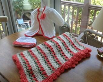 Knit Baby Blanket, Hat, Sweater Bundle