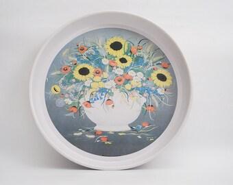 Vintage Round Tin Tray Sunflowers Design