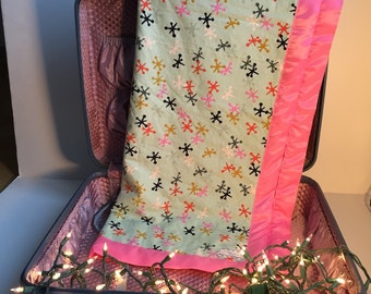 Jazzy Jacks Baby Blanket - Baby Shower Gift - Toddler Blankie - Minky Blanket - Minky Baby Blanket -Satin Trim Blanket