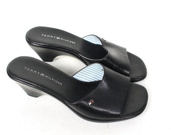 Vintage Tommy Hilfiger Mules - 90s Normcore Minimalist Tommy Hilfiger Mule Sandals - 90s Preppy Tommy Hilfiger Open Toe Sandals Size 6 US
