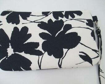 Clutch bag/occasion bag/ wedding clutch/navy/white floral clutch with wrist strap.