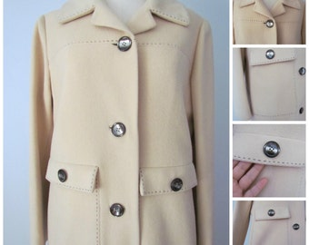 Vintage 60's 100% Cashmere Ivory Tan Coat Running Stitch Accents by GALLANT WOW!