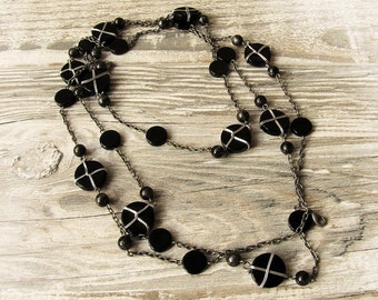 Free Shipping/Handmade Black Bohem Beads  Necklace-Bohem Black Accessories