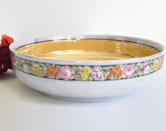 Antique, LDB, Bavaria, Germany, Porzellanfabrik, Moschendorf, Lusterware, Serving, Bowl, Dish, Floral, Flowers, Used, Shabby