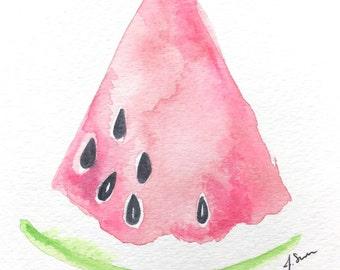 Original Watermelon Watercolor Painting, Watermelon Art, Watermelon Wall Decor, Fruit Art, Fruit Painting, Girl Nursery Decor