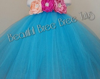Turquoise(peach,hot pink, dusty rose) tutu dress Handmade, pageant