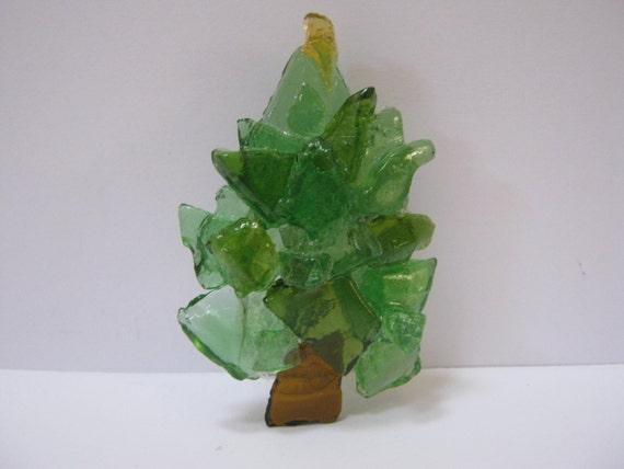 Handmade Sea Glass Christmas Tree Brooch Pin Green Holiday